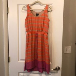 Lord and Taylor Orange and Pink Striped Dress.